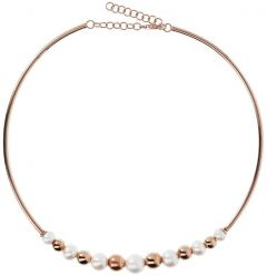 Bronzallure Chocker Necklace With Pearls And Golden Rosé Beads