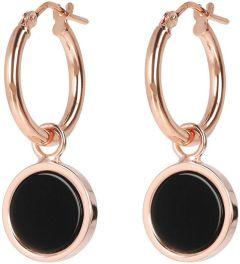 Bronzallure Dangling Stone Earrings Rose Gold/Black Onyx