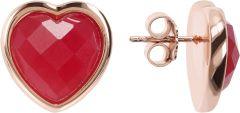 Bronzallure Heart Earrings In Natural Stone Rose Gold/Plum Agate