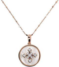 Bronzallure Alba Necklace Cross CZ Rose Gold/White Mop