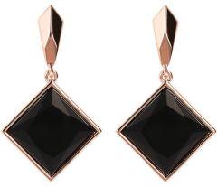 Bronzallure Incanto Square Earrings Rose Gold/Black Onyx