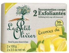 Le Petit Olivier 2 Exfoliating Body Soap with Lemon Peel (2x100g)