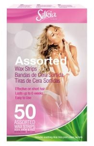Silkia Hair Removal Wax Stripes Assorted for Body, Face, Bikini with Aloe Vera Cream (50pcs)