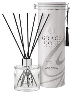 Grace Cole Luxury Reed Diffuser In Decorative Tin White Nectarine & Pear (200mL)