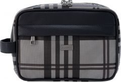 JJDK Cosmetic Bag Willum Large Grey & Brown Tartan Pattern PU (23x17x17) 61344