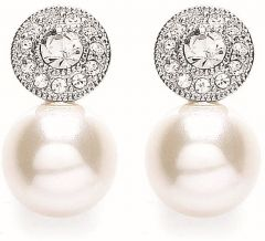 Buckley London Rhodium Round Millgrain Pearl Earrings E2091