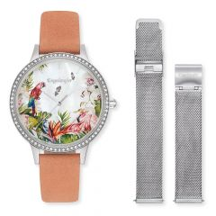 Engelsrufer Set Watch Paradise Silver With Zirconia Coral Nubuck Leather And Interchangeable Strap Mesh Silver