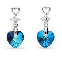Spark Silver Jewelry Earrings Petite Heart Bermuda Blue