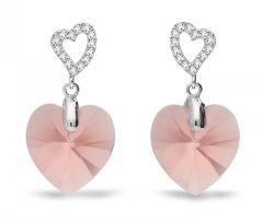 Spark Silver Jewelry Earrings Tender Heart Blush Rose