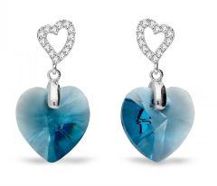 Spark Silver Jewelry Earrings Tender Heart Denim Blue