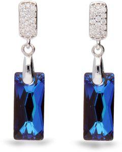 Spark Silver Jewelry Earrings Baguette Bermuda Blue