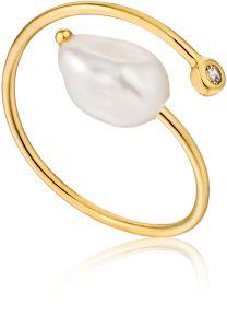 Ania Haie Gold Pearl Twist Ring