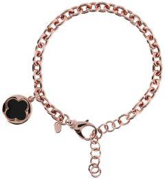 Bronzallure Four Leaf Clover Charm Chain Bracelet Black Onyx