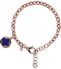 Bronzallure Four Leaf Clover Charm Chain Bracelet Lapis