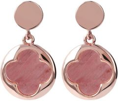 Bronzallure Four Leaf Clover Dangle Earrings Red Fossil