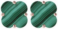 Bronzallure Clover Stud Earrings Malachite
