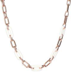 Bronzallure Variegata Rectangular Link Stone Polished Necklace White Agate