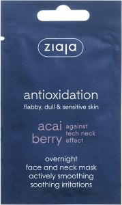 Ziaja Acai Berry Overnight Face and Neck Mask for Flabby, Dull and Sensitive Skin (7mL)